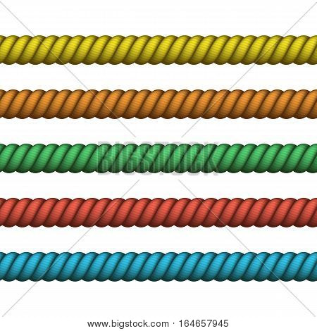 Climbing twisted rope for lasso or marine knots. Vector Nautical rope thin and thick. Navy rope of different color for border or frame.
