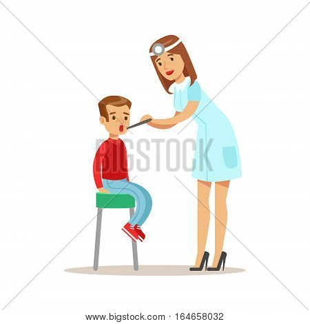 Kid On Medical Check-Up With Female Pediatrician Doctor Doing Physical Examination Checking Boys Throat For The Pre-School Health Inspection. Young Child On Medical Appointment Checking General Physical Condition Illustration.