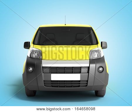 Yellow Delivery Car In Front On A Gradient Background 3D Illustration