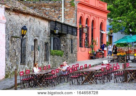Colonia, Uruguay - December 7: Street Cafe On December 7, 2014 In Colonia Del Sacramento, Uruguay. C