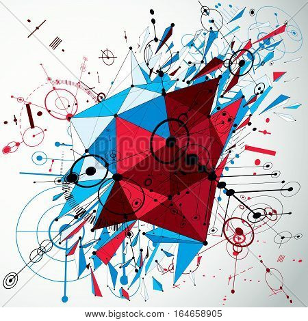 Geometric Bauhaus 3D Vector Background With Low Poly Abstract Demolished Object Created From Circles