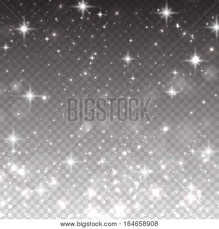 Vector illustration with falling stars isolated on transparent background