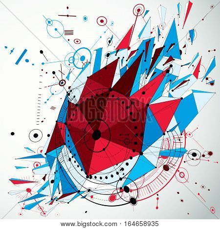 3D Engineering Technology Vector Backdrop With Low Poly Demolished Object And Wireframe. Colorful Me