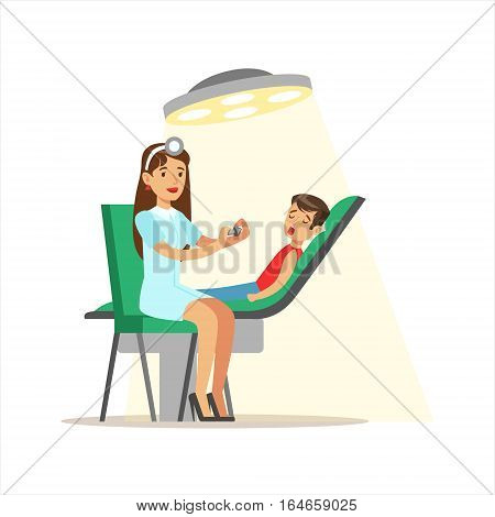 Kid On Medical Check-Up With Female Pediatrician Doctor Doing Physical Examination Checking Teeth For The Pre-School Health Inspection. Young Child On Medical Appointment Checking General Physical Condition Illustration.