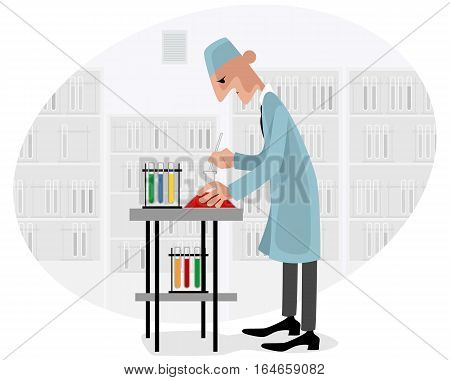 Vector illustration of a scientist with test-tube