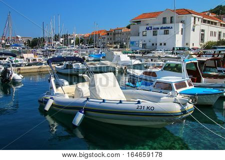 Korcula, Croatia - June 3: Boats At The Marina On June 3, 2015 In Korcula Town On Korcula Island, Cr