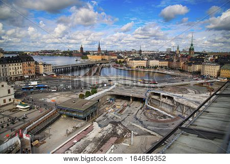 STOCKHOLM SWEDEN - AUGUST 20 2016: Aerial view of Stockholm from Great lookout point Katarinahissen (Katarina Elevator) and construction in progress in Stockholm Sweden on August 20 2016.