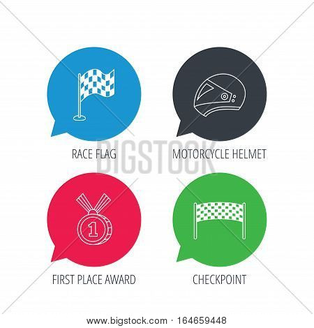 Colored speech bubbles. Race flag, checkpoint and motorcycle helmet icons. Winner award medal linear signs. Flat web buttons with linear icons. Vector