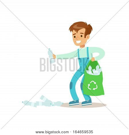 Boy Picking Recycle Garbage Helping In Eco-Friendly Gardening Outdoors Part Of Kids And Nature Series. Happy Child Interacting With Nature And Participating In Garden Clean-up Procedures Vector Illustration.