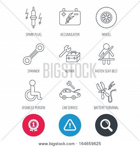 Achievement and search magnifier signs. Accumulator, spanner tool and car service icons. Repair toolbox, wheel and spark plug linear signs. Disabled person, battery terminal icons. Vector