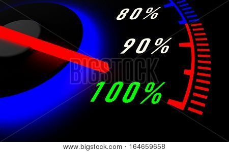 A speedometer with needle pointing to 100% on black background 3D rendering