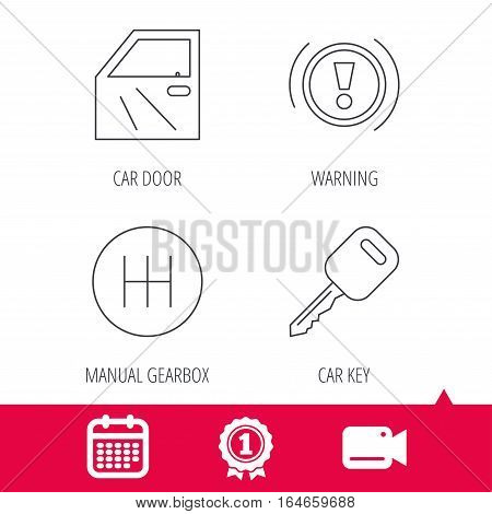 Achievement and video cam signs. Car key, warning and manual gearbox icons. Car door, transmission linear signs. Calendar icon. Vector