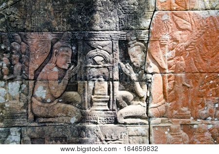 Bas-relief from Banteay Chmmar Cambodia depicting the worship of the linga or symbol of Shiva.