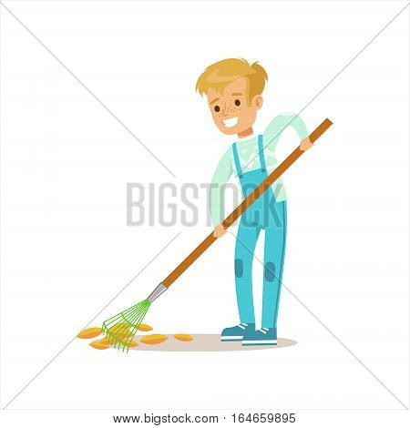 Boy Collecting Fallen Leaves With Rake Helping In Eco-Friendly Gardening Outdoors Part Of Kids And Nature Series. Happy Child Interacting With Nature And Participating In Garden Clean-up Procedures Vector Illustration.