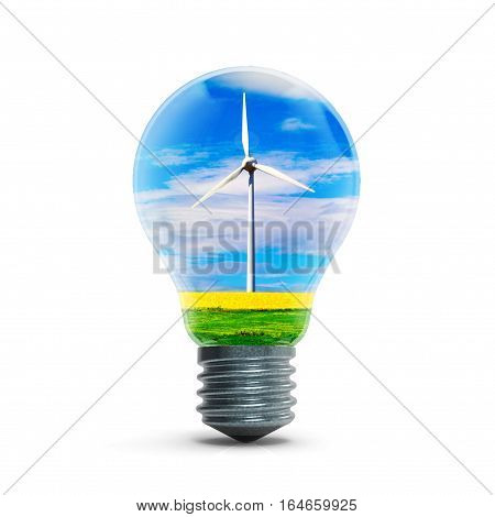 Windmill generators inside light bulb isolated on white background 3D rendering