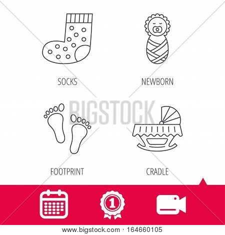 Achievement and video cam signs. Footprint, cradle and newborn baby icons. Socks linear sign. Calendar icon. Vector