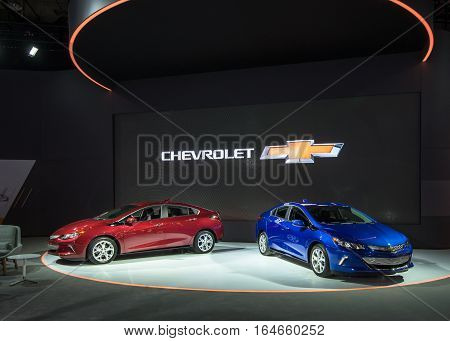 DETROIT MI/USA - JANUARY 9 2017: Two 2017 Chevrolet Volt cars at the North American International Auto Show (NAIAS).