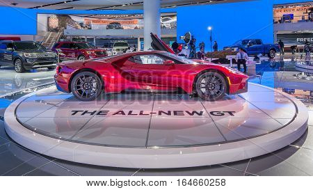 DETROIT MI/USA - JANUARY 9 2017: A 2017 Ford GT car at the North American International Auto Show (NAIAS).