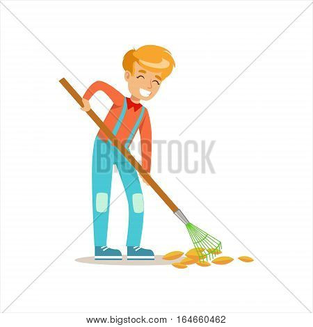 Boy Raking Fallen Autumn Leaves Helping In Eco-Friendly Gardening Outdoors Part Of Kids And Nature Series. Happy Child Interacting With Nature And Participating In Garden Clean-up Procedures Vector Illustration.