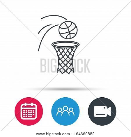 Basketball icon. Basket with ball sign. Professional sport equipment symbol. Group of people, video cam and calendar icons. Vector