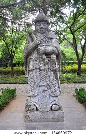 Statue of General in the sacred way in Ming Xiaoling Mausoleum, Nanjing, Jiangsu Province, China. Ming Xiaoling Mausoleum is UNESCO World Heritage Site.