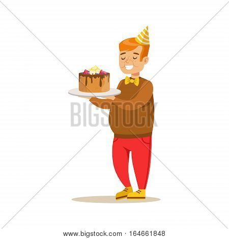 Chubby Boy With Big Cake, Kids Birthday Party Scene With Cartoon Smiling Character. Part Of Children And Festive Celebration Attributes Series Of Vector Illustrations