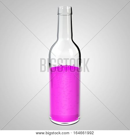 Glass bottle with pink liquid. Raspberry lemonade mock up. Bottle with a poisonous liquid. Purple cola 3D illustration