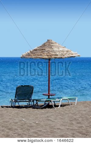 Black Beach Umbrella - Greece