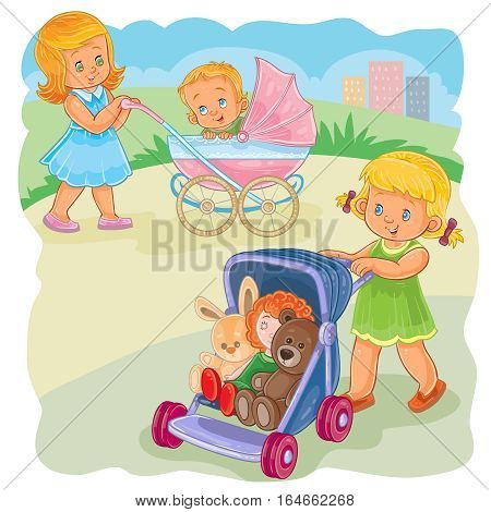 Vector illustration of an older sister rolls the baby carriage with the kid, younger sister rolls the stroller with her toys