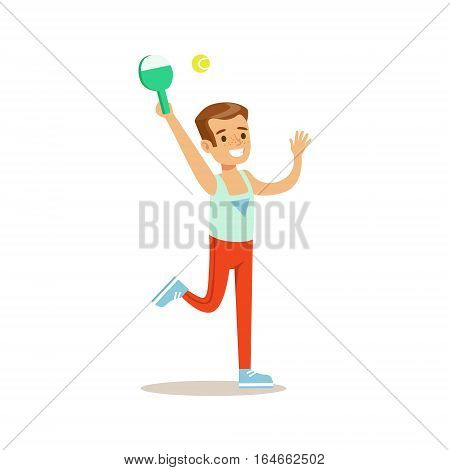 Boy Playing Badminton, Kid Practicing Different Sports And Physical Activities In Physical Education Class. Athletic Teenager Happy To Do Sportive Training Cartoon Vector Illustration.