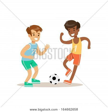 Boys Playing Football Kid Practicing Different Sports And Physical Activities In Physical Education Class. Athletic Teenager Happy To Do Sportive Training Cartoon Vector Illustration.