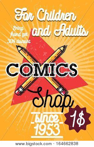 Color vintage comics shop banner. Colorful vector illustration.