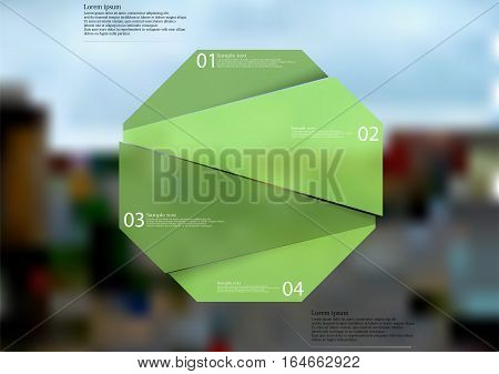 Illustration infographic template with motif of green octagon randomly divided to four sections with simple signs. Blurred photo with crossroad in the city is used as background.
