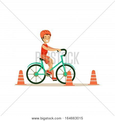 Boy Riding Bicycle, Kid Practicing Different Sports And Physical Activities In Physical Education Class. Athletic Teenager Happy To Do Sportive Training Cartoon Vector Illustration.