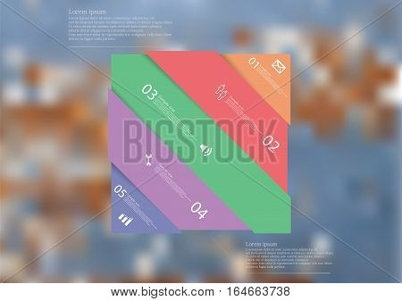 Illustration infographic template with motif of color rectangle askew divided to five sections with simple signs. Blurred photo with natural motif of wooden board with worn color is used as background.
