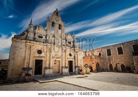 Arkadi monastery on Crete island, Greece. Ekklisia Timios Stavros - Moni Arkadiou in Greek. It is a venetian baroque church.