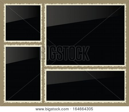 Isolated black photo frames, vector illustration, set
