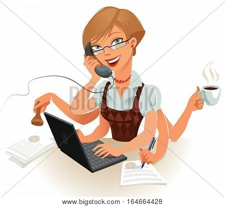 The secretary can easily handle several things at the same time. Work on the computer, talk on the phone, sign important documents, attach a seal to a document, brewed coffee, vector illustration
