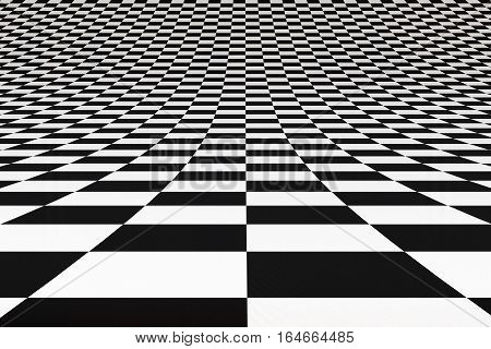 Black and white abstract bent checkered 3D studio background