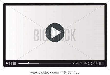Flat video player interface for web and mobile apps. Vector illustration