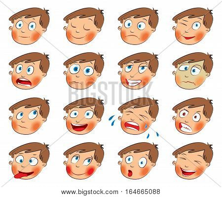 Emotions. Cartoon facial expressions set. ( natural, calm, resentful, playful, frightened, sad, satisfied, ailing, thoughtful, jolly, crying, angry, funny, enamored, astonished, laughing ) Hand-drawn