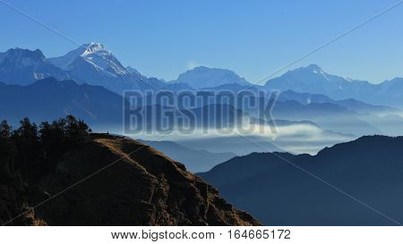 Mountain landscape in the Annapurna Conservation Area. Distant view of mount Manaslu. View from Mohare Danda.