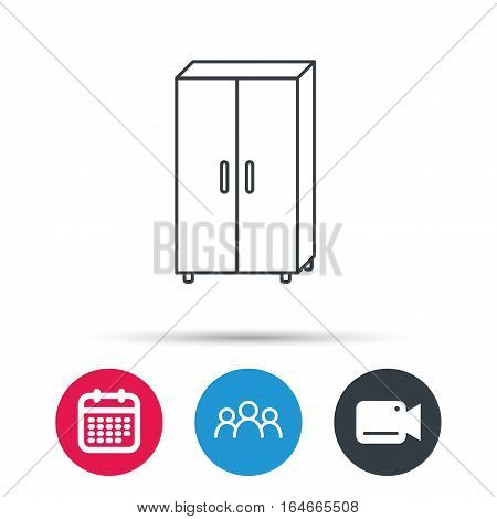 Cupboard icon. Wardrobe furniture sign. Group of people, video cam and calendar icons. Vector