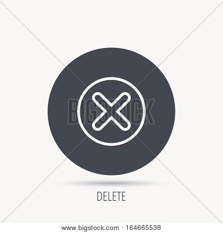 Delete icon. Decline or Remove sign. Cancel symbol. Round web button with flat icon. Vector