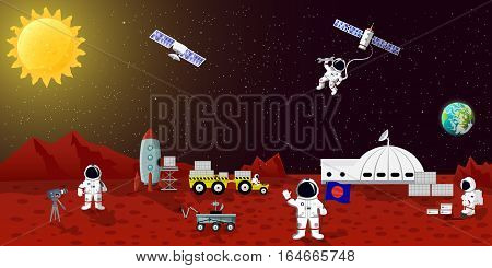 Mars colonization vector ilustration. Space planet austronaut station, spaceman characters