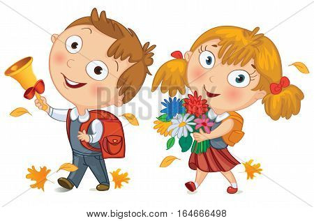 Back to school. Schoolboy and schoolgirl go to school. Little girl holding a bouquet of flowers. Young boy ringing the school bell. Vector illustration