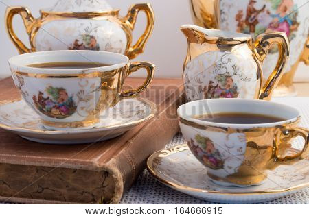 Vintage Coffee Cups With Hot Espresso And Retro Dishware