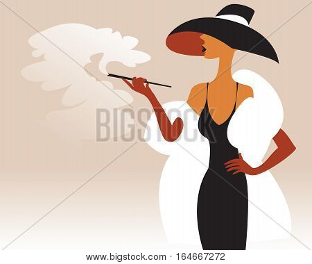 A woman in a fur coat and hat with a cigarette in his hand, lots of cigarette smoke, vector illustration