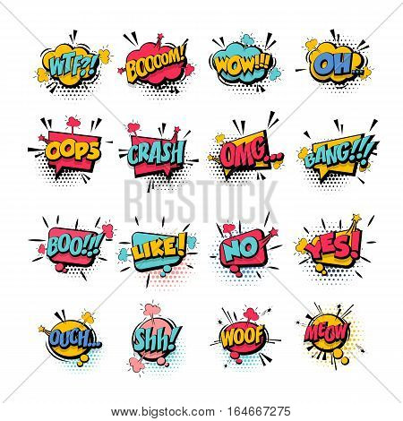 Comic collection colored sound effects pop art vector style. Set bubble speech word comic cartoon expression illustration. Lettering phrase. Comics book background template.