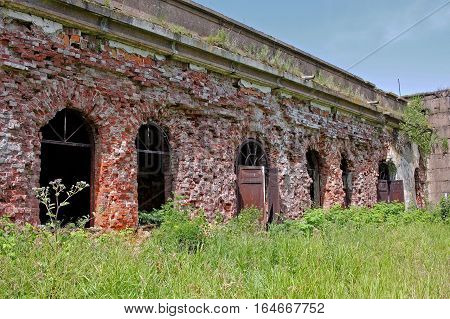 Kronstadt Russia - 10 July 2016: Fort 3 Graf Milutin. Marine reinforced concrete fortification construction for protection of Saint Petersburg from attack by naval forces. Built in 1855-1856 years